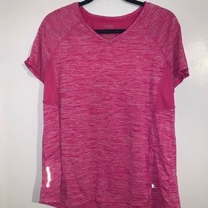 Pink and white workout top with mesh backing
